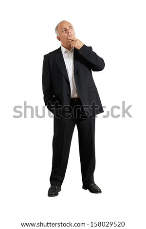 full-length photo of pensive man over white background - stock photo