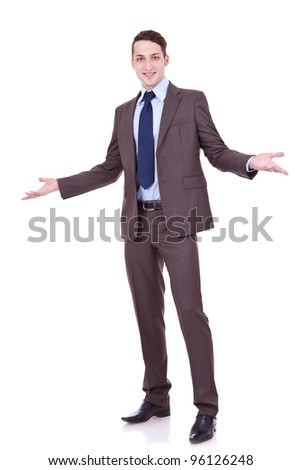 full length picture of an approachable young business man with open arms isolated on white background. businessman welcoming you - stock photo