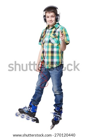 Full length portrait a boy on rollers with earphones pointing forward sign isolated - stock photo