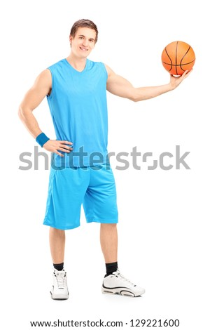 Full length portrait of a basketball player posing isolated on white background - stock photo