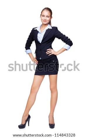 Full length portrait of a beautiful business woman isolated on white background - stock photo