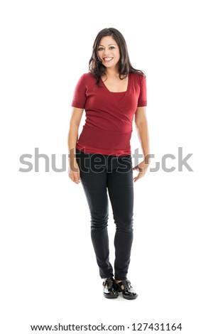 Full length portrait of a beautiful happy Hispanic woman - stock photo