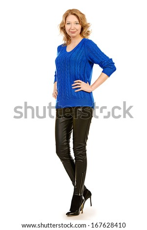 Full length portrait of a beautiful senior woman. Isolated over white background. - stock photo