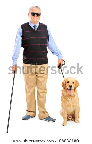 Full length portrait of a blind person holding a walking stick and a dog isolated on white background - stock photo