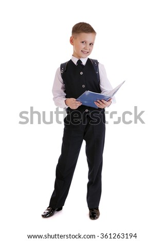 Full length portrait of a boy in a suit standing with schoolbag. Fashion kids. Education. Isolated over white background - stock photo