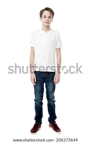 Full length portrait of a boy isolated on white  - stock photo