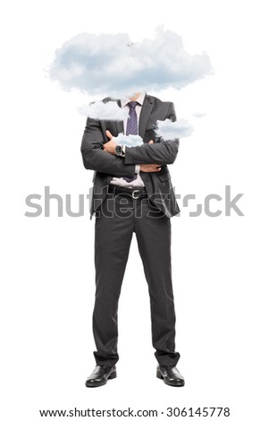 Full length portrait of a businessman in a gray suit with his head up in the clouds isolated on white background - stock photo