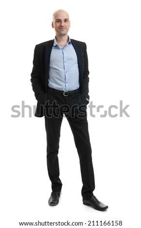 full length portrait of a businessman over white background - stock photo