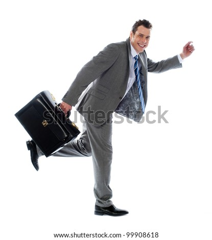 Full length portrait of a businessman running away against white background