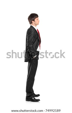 Full length portrait of a businessman waiting in line isolated against white background - stock photo