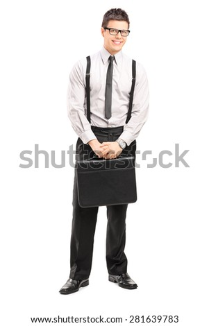 Full length portrait of a businessman with a briefcase smiling and looking at the camera isolated on white background
