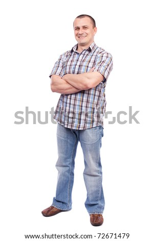 Full length portrait of a casual dressed young man isolated on white background - stock photo
