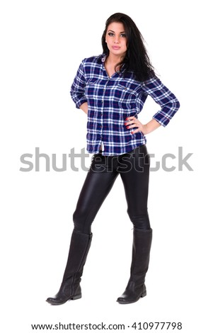 Full length portrait of a casual happy woman - stock photo