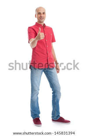 Full length portrait of a casual man showing his thumb up. isolated on white background - stock photo