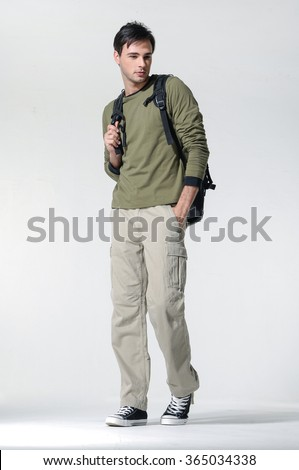 Full length portrait of a casual young man with bag  - stock photo