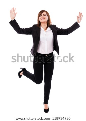 Full length portrait of a cheerful businesswoman isolated on white background - stock photo