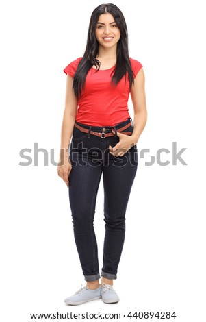 Full length portrait of a cheerful casual woman posing isolated on white background - stock photo