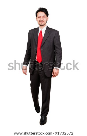 full length portrait of a confident Arab businessman, biracial businessman isolated on white