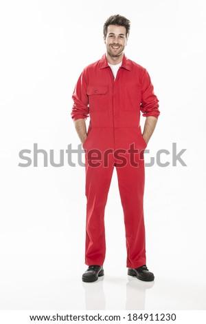 Full length portrait of a confident technician in a uniform - stock photo
