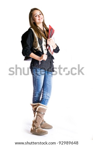 Full length portrait of a cute smiling young student girl. - stock photo