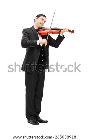Full length portrait of a elegant musician playing an acoustic violin isolated on white background - stock photo