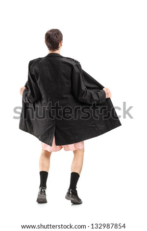 Full length portrait of a flasher wearing coat and gesturing isolated on white background - stock photo