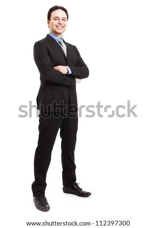 Full length portrait of a friendly businessman - stock photo