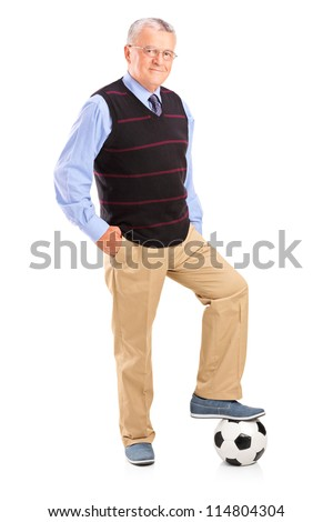 Full length portrait of a gentleman with a football isolated on white background - stock photo