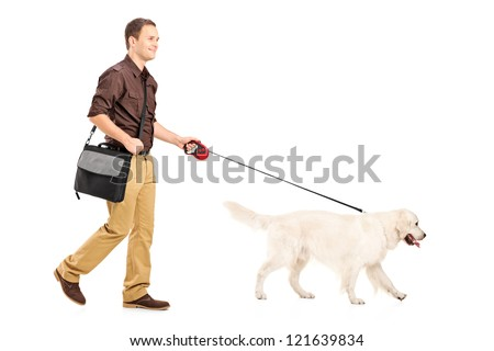 Full length portrait of a guy with shoulder bag walking a dog isolated on white background