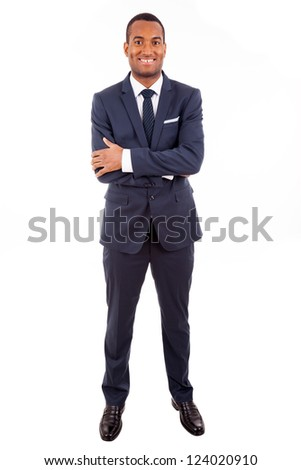 Full length portrait of a handsome African American business man against white background