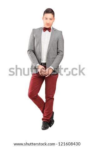 Full length portrait of a handsome stylish male posing isolated on white background - stock photo