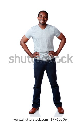 Full length portrait of a happy african man over white background - stock photo