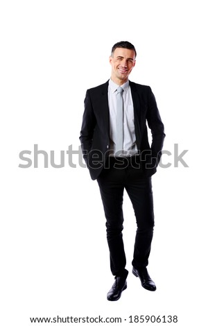 Full-length portrait of a happy businessman isolated on a white background - stock photo