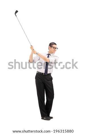 Full length portrait of a happy businessman playing golf isolated on white background