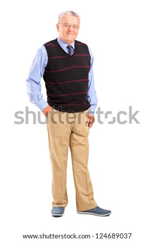 Full length portrait of a happy gentleman posing isolated against white background