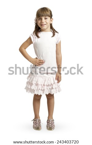 Full length portrait of a happy little girl on white background - stock photo