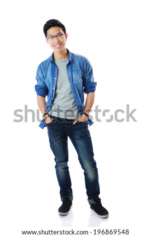 Full-length portrait of a happy man in glasses over white background - stock photo