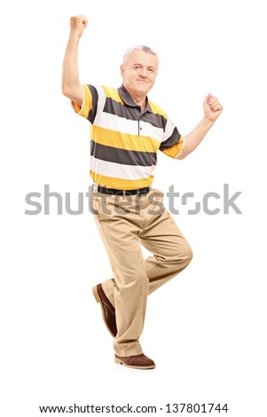 Full length portrait of a happy middle aged gentleman gesturing happiness isolated on white background - stock photo