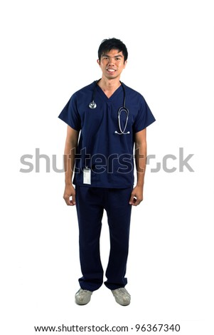 Full length portrait of a happy young Asian nurse or doctor. Isolated on a white background. - stock photo