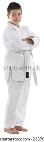 Full length portrait of a judo kid isolated on white background. - stock photo
