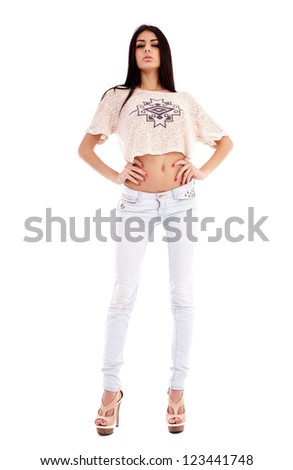 Full length portrait of a latin young woman isolated on white background - stock photo