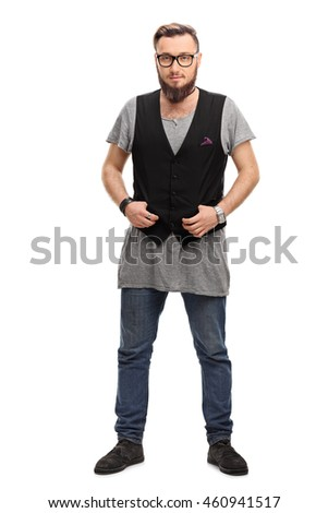 Full length portrait of a male hipster with a back vest and glasses isolated on white background