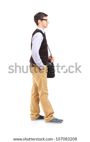 Full length portrait of a male student standing in line isolated against white background - stock photo