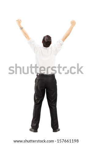 Full length portrait of a male with raised hands gesturing happiness isolated on white background - stock photo