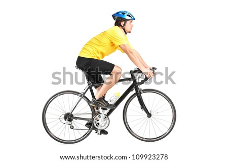 Full length portrait of a man riding a bycicle isolated against white background - stock photo
