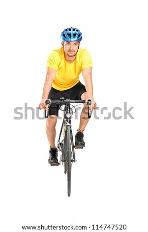 Full length portrait of a man with helmet riding a bycicle isolated against white background - stock photo