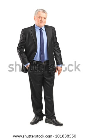 Full length portrait of a mature businessman posing isolated on white background - stock photo