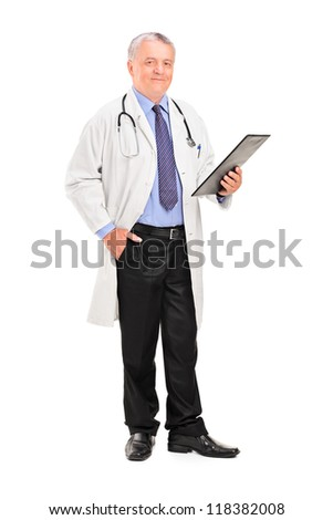 Full length portrait of a mature doctor holding a clipboard and posing isolated on white background