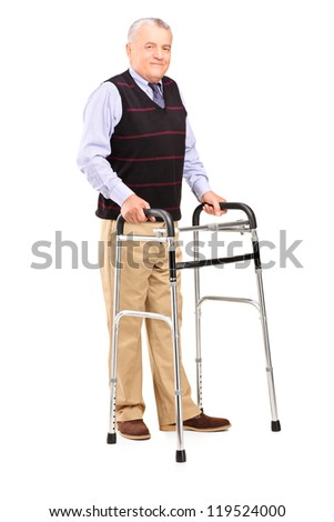 Full length portrait of a mature gentleman using a walker isolated on white background