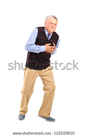 Full length portrait of a mature man having a heart attack isolated on white background - stock photo